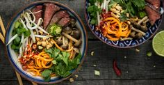 Beef Pho With Beech Mushrooms and Sweet Potato Noodles #recipes #pasta #spiralize