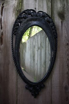 Large Black Mirror Sleeping Beauty Mirror Mirror on the Wall Shabby Chic Home Decor Bedroom Bathroom  Vintage Burwood Syroco Gothic Scrolled. $79.99, via Etsy.