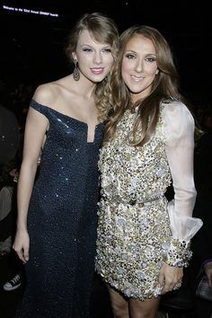 Celine Dion and Taylor Swift at the Grammy Awards 2010...oh my gosh this is amazing!!! Two of my favorite singers together!!!