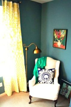 Yellow curtains and blue walls