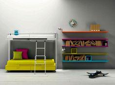 the coloured wall shelves.