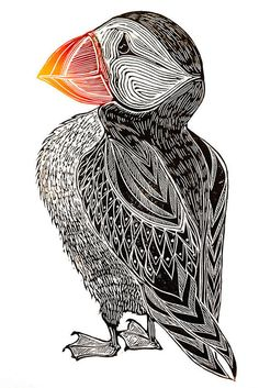 PUFFIN - hand carved, hand printed linocut