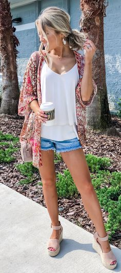 white camisole and blue cut-off denim shorts #summer #outfits