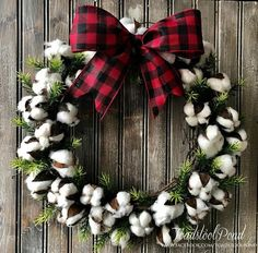 Cotton Boll Wreath,Farmhouse Wreath,Magnolia Inspired Cotton Wreath, Fixer Upper Style Wreath, Christmas Cotton Wreath, Buffalo Check Bow