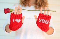 Red Fingerless Gloves I Love You Gloves Hand by SmilingKnitting, $24.90