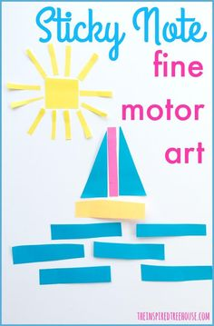 The Inspired Treehous: CREATIVE CRAFTS: STICKY NOTE FINE MOTOR ART