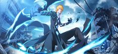 Strongest Form of Ichigo Kurosaki (Quincy, Hollow and Fullbring all together) Bleach Amv, Bleach Ichigo Bankai, Manga Bleach, Ichigo Final Form, Anime Manga, Anime Art, Anime Drawing Styles, Cool Swords, Cool Anime Pictures