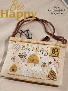 Bee Happy from the May/Jun 2016 issue of Just CrossStitch Magazine. Order a digital copy here: https://www.anniescatalog.com/detail.html?prod_id=131294