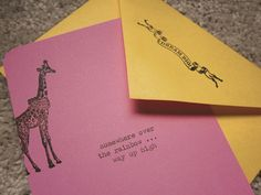 "personalized ""over the rainbow"" stationery set with hand-typed lyrics and whimsical stamps."