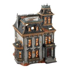 Department 56 4025337 Snow Village Halloween from Department 56 Mordecai Mansion Lit House, 10.63-Inch: Furniture & Decor