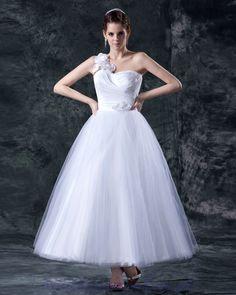 Ankel Length 2013 Wedding Gown One Shoulder