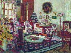 Stanislav Yulianovich Zhukovsky (Станислав Юлианович Жуковский) (Polish Russian artist, 1875–1944) Living Room Brasovo