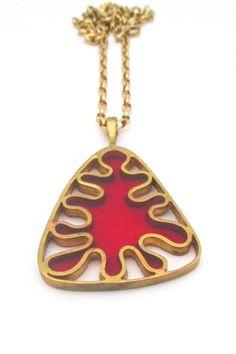 Bernard Chaudron, Canada - large 'splash' pendant necklace #Chaudron #enamel #necklace