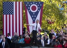 #122 Oct. 15-  Ohio Political Portrait.JPEG  FILE - In this Oct. 9, 2012 file photo, President Barack Obama arrives to speak at The Ohio State University Oval, in Columbus, Ohio.  Associated Press