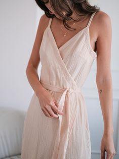 Iris Wrap Sundress Women 100% Double Gauze Cotton Dress with   Etsy Comfy Dresses, Linen Dresses, Cotton Dresses, Summer Dresses, Muslin Dress, Midi Sundress, Light Dress, Basic Outfits, Maternity Dresses