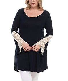 Loving this Navy Crochet-Accent Swing Tunic - Plus on #zulily! #zulilyfinds