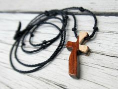 Men's Cross Necklace  Wenge Maple & African Bubinga by TheLotusShop, $16.95