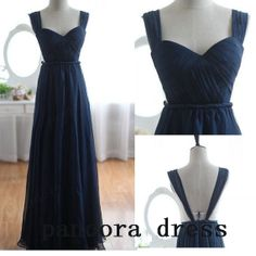 Long prom dress  navy evening dress / chiffon by PandoraDress, $99.00