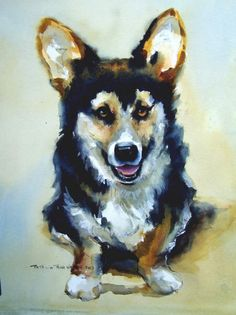 Watercolor Dog Portrait Reminds me of Fuzzy Bear