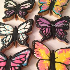 Butterfly cookies Royal icing sugar cookies By Kathleen at curious confections in NJ Instagram: curious.confections