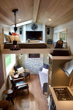 Ampersand Tiny House by Zyl Vardos Double Loft Luxury Big Outdoors Tiny House by Tiny Heirloom 003 Best Tiny House, Tiny House Cabin, Tiny House Living, Tiny House Plans, Tiny House Design, Tiny House On Wheels, Small Living, Home And Living, Tiny Houses