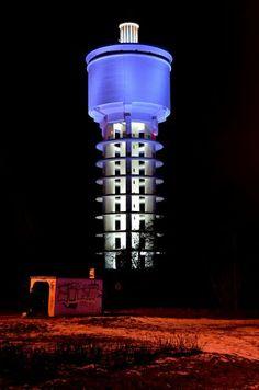 #Trnava (Slovakia), Water tower Dazzle Camouflage, Tank I, Bratislava, Water Tank, Lighthouses, Blue Lamps, Street Art, Windmills, Sheds