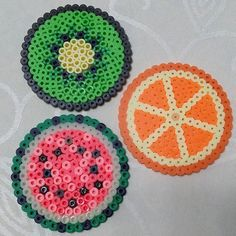 Fruit coasters perler beads by k_negolgo