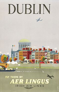 DUBLIN - Fly Aer Lingus. Cityscape of the north quays of Dublin's River Liffey, showing the Four Courts, and a colourful representation of Dublin's famous Georgian architecture, by A. Melia 800.514