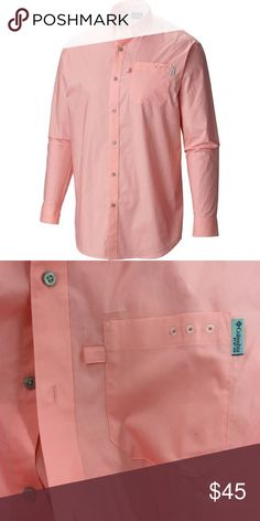 NWOT Columbia PFG Button down shirt Never worn.  Has all buttons, just sat in closet.  Pink doesn't have rear vents but the PFG logo is in the middle of the lower back as usual. Columbia Shirts Casual Button Down Shirts