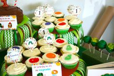 Cupcakes at a Very Hungry Caterpillar birthday party! See more party ideas at CatchMyParty.com!