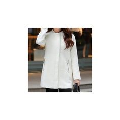 Round Neck Woolen Coat (220 RON) ❤ liked on Polyvore featuring outerwear, coats, women, wool coat, woolen coat, white woolen coat, white coat and white wool coat