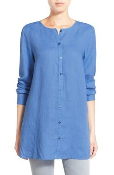 Eileen Fisher Organic Linen Round Neck Long Shirt (Regular & Petite) available at #Nordstrom