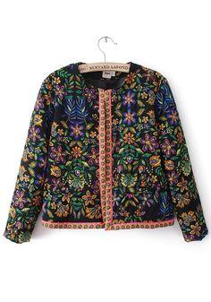 Black Floral Nine's Sleeve Cotton Blend Padded Coat
