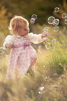 Blowing bubbles in a field Toddler Pictures, Baby Pictures, Baby Photos, Precious Children, Beautiful Children, Little People, Little Girls, Cute Kids, Cute Babies