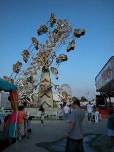 Pennsylvania Midway amusement park entertainment at dusk in PA
