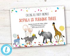 Editable Party Animals Birthday Invitation, Party Animals instant download invitation,You print birthday invitation, Party Animals DIY party Party Animals, Animal Party, Diy Party, Card Party, Animal Birthday, Party Printables, Birthday Celebration, Birthday Invitations, Save Yourself