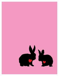 Valentine Rabbits Greeting Card