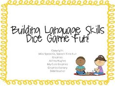 Building Language Skills: Dice Game Fun! - Miss Speechie - TeachersPayTeachers.com