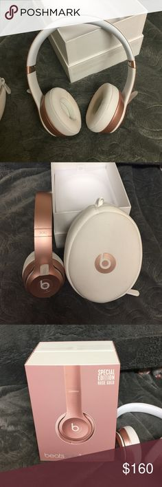 Beats solo 2 wireless Rose gold beats solo 2 wireless. Used once. Slight makeup stain on inner earphone padding. Comes with everything. Other
