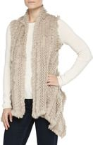 fur-neiman marcus rabbit fur knit long vest beige