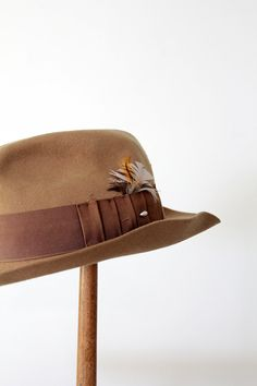 vintage fedora / 1950s wool fedora with feather by 86Vintage86, $145.00