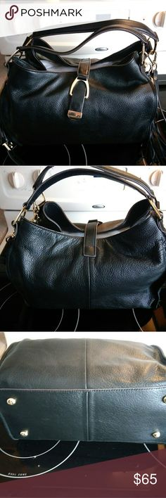 """G.I.L.I. Leather Satchel Handbag Purse I received this bag as a gift from my Grandmother for Christmas. It is just not my style so I've decided to sell it.   Genuine black leather,  selling on QVC new currently for $121.00.  Comes with longer,  detachable shoulderbstrap,  detachable tassel,  and dust bag.   I took the plastic off of the hardware but it is still brand new and never used with the paper still stuffed in it.   Measurements are 13-1/2""""W x 10""""H x 5""""D with 8"""" handle drop.  Longer…"""