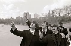 The Beatles tour of USA 1964 New York City 9th February 1964 L-R John Lennon Paul McCartney and Ringo Starr in Central Park