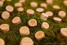 Stamp guests' names and tables onto rustic wooden rounds — voilà, instant coasters.