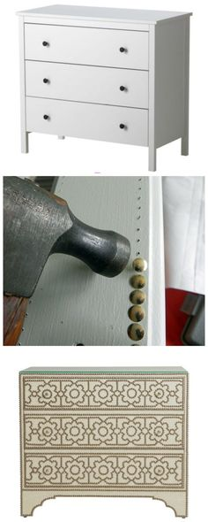Use upholstery tacks to upgrade a plain piece of furniture. This is particularly great for side tables and chests of drawers.