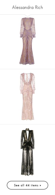 """Alessandra Rich"" by ahmady ❤ liked on Polyvore featuring dresses, gowns, purple evening gowns, long-sleeve floral dresses, long sleeve evening gowns, purple gown, floral gown, long dress, midi & long and pink"