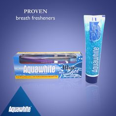 Brushing with Aquawhite Blue Mint gel toothpaste starts with a blast of flavor that you can actually feel freshening up your breath.