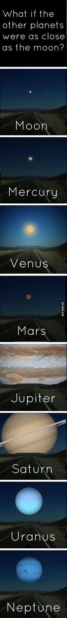 What if the other planets were as close as the moon -- so cool!