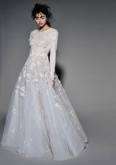 Beautiful Wedding Dresses Would Look Glamorous On All Sorts .- Beautiful Wedding Dresses Would Look Glamorous On All Sorts Of Brides-To-Be Long sleeves heavy embellishment a line wedding dress - Western Wedding Dresses, Modest Wedding Dresses, Bridal Dresses, Wedding Gowns, Wedding Venues, Vestidos Vintage, Vintage Dresses, Glamour, The Dress
