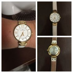 Anne Klein White Leather Gold Tone Ladies Watch EXCELLENT CONDITION! Anne Klein Gold Tone Watch with Genuine White Leather Adjustable Band.  Works like a charm and keeps perfect time! Large Gold Tone Numbers at 12-3-6 & 9. Needs new battery, reflecting discounted price. Retail $100.00 Anne Klein Accessories Watches